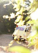 Yellow car obscured by leaves Stock Photos