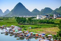 Yangshuo, China on the Li River. Stock Photos