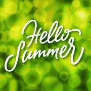 Green summertime background with bokeh effect Stock Illustration