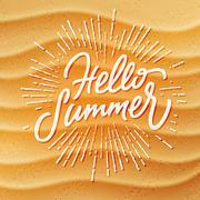 Sand texture and handmade lettering Hello Summer Stock Illustration