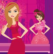 Girl jealous of the beautiful dresses Stock Illustration