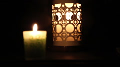 Decorated candles illuminated on festival Stock Footage