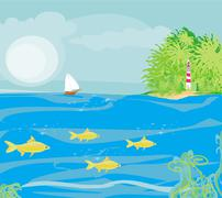 lighthouse seen from a tiny beach - stock illustration