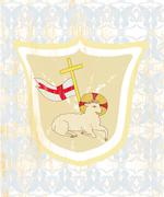 Lamb with Cross - Abstract grunge card Stock Illustration