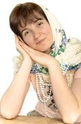 Ukrainian beautiful young woman in a headscarf uzoronom, white, isolated Stock Photos