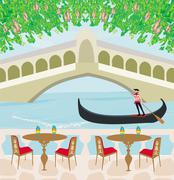 cafe in Venice, gondola in the background - stock illustration