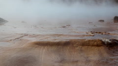 water run over rocks with geo thermal steam in iceland - stock footage
