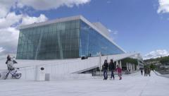 Opera House Oslo Norway low angle motor control slider Stock Footage