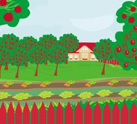 Harvest. A crop of apples in a highland orchard illustration. - stock illustration