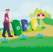segregation of garbage - stock illustration