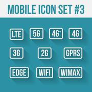 Mobile telecommunications technology symbol. 10 signs Stock Illustration