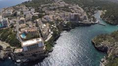 Glittering Water in a beautiful Bay - Aerial Flight Stock Footage