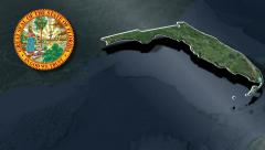 Florida Seal and animation map Stock Footage