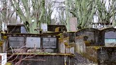 Old graveyard graves in reykjavik, Iceland Stock Footage
