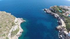 Ocean Bay with Deep Blue Water - Aerial Flight Stock Footage