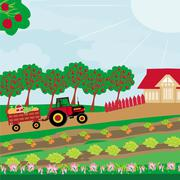 Stock Illustration of rural landscape -  tractor and orchard