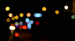 Bokeh effect in city during nighttime. Stock Footage