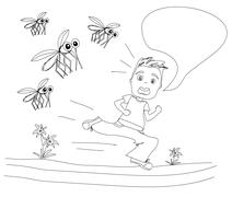 Boy runs away from mosquitoes Stock Illustration