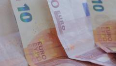 Euro banknotes in the row 4K 2160p UltraHD slow panning footage - 10 Euro ban Stock Footage
