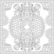unique coloring book square page for adults - floral authentic c - stock illustration