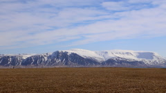 Wide shot of mountain Reykjavik iceland Stock Footage