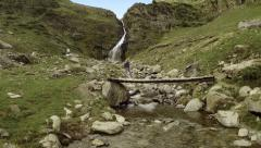 Aerial view of a waterfall and a creek. Spain Stock Footage