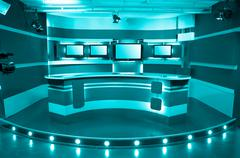 cyan television studio - stock photo