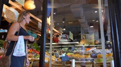 Customers in Purchase of Food in Supermarket. Everyday Life Stock Footage