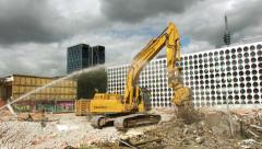 Demolition machine crunching metal, time lapse Stock Footage