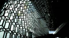 Reykjavik harpa interior 2 Stock Footage