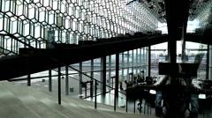 Reykjavik harpa interior Stock Footage