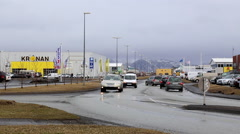 Road with in iceland with supermarket 2 Stock Footage