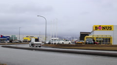 Road with in iceland with supermarket Stock Footage