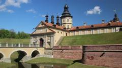 Nesvizh Castle. Belarus. Panorama Stock Footage