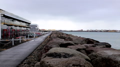 Rocks with sea path iceland Stock Footage