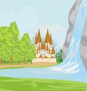 Beautiful landscape with a castle on the lake Stock Illustration