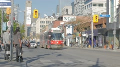 Queen West Toronto Peter St Intersection CN Tower Street Car Medium Pa Stock Footage