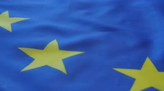 EU  flag close-up panning 1080p FullHF footage - Panning over EU flag 1920X10 Stock Footage