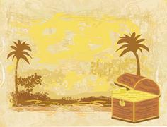 Chest full of gold on abstract old paper Stock Illustration