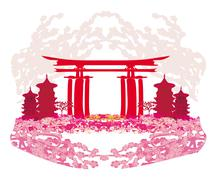 Abstract card with Asian buildings and cherry blossoms Stock Illustration