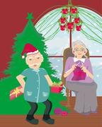 Senior couple spending the holidays at home - stock illustration