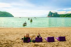 Late afternoon on the beach, Thailand - stock photo