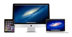 Apple iMac 27, Macbook Pro,iPad Air 2 and iPhone 6 - stock photo