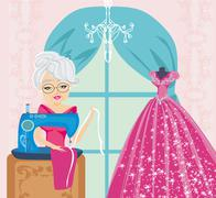 Old lady with sewing machine Stock Illustration