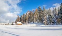 Meadow without trails and mountain hut in winter - stock photo