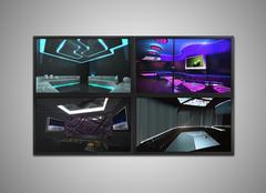 cctv monitor for nightclub - stock illustration