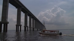 Rio Negro Bridge, links the cities of Manaus and Iranduba in Brazil. Stock Footage
