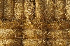 Stacked Straw Hay Bails - stock photo