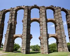Vertical panoramic view of Roman Aqueduct Stock Photos