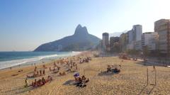 Rio de Janeiro aerial - Leblon beach sweep Stock Footage